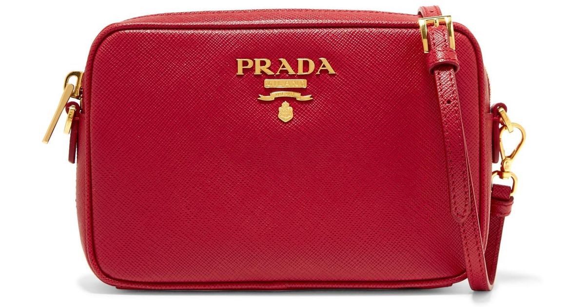d7ed7de61c53 Prada Textured Leather Camera Bag in Red - Lyst