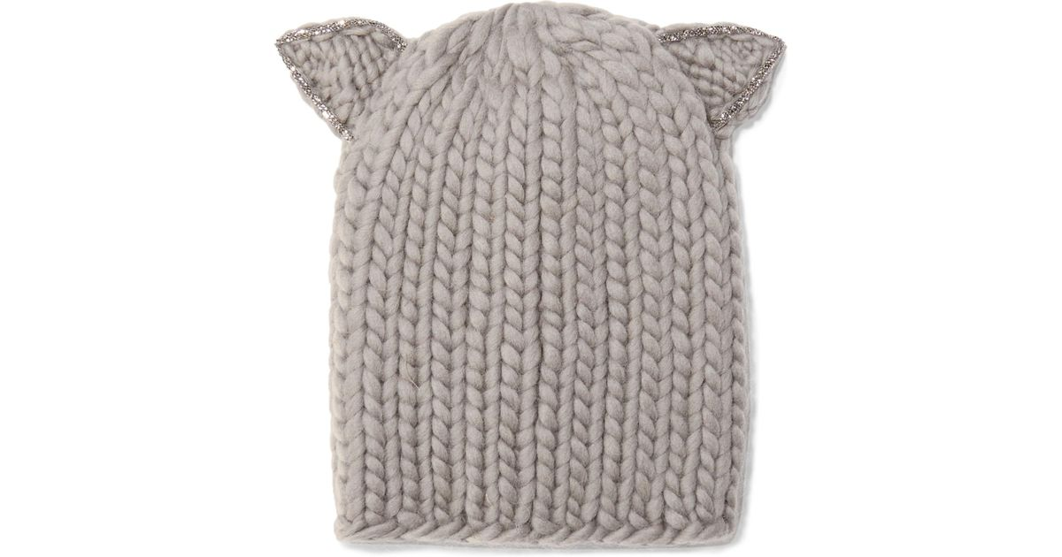 Lyst - Eugenia Kim Felix Crystal-embellished Wool Beanie in Gray fc6214e69d10
