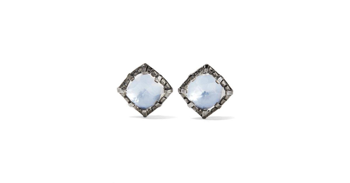 Larkspur & Hawk Bella Stud Earrings, White Quartz