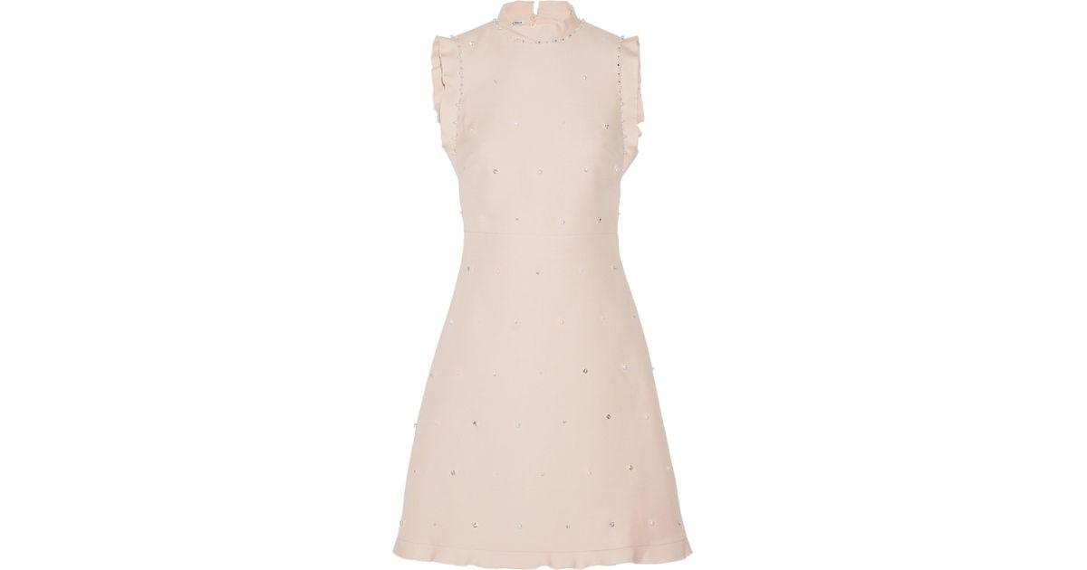 499144c3020 Lyst - Miu Miu Ruffle-trimmed Embellished Wool And Silk-blend Mini Dress in  Pink