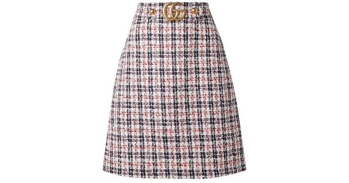 d259b24360 Gucci - Red Embellished Metallic Tweed Skirt - Lyst