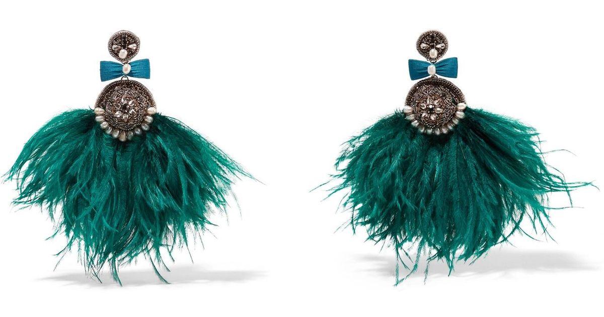 Jae Feather And Crystal Clip Earrings - Mint Ranjana Khan 5GaJ1