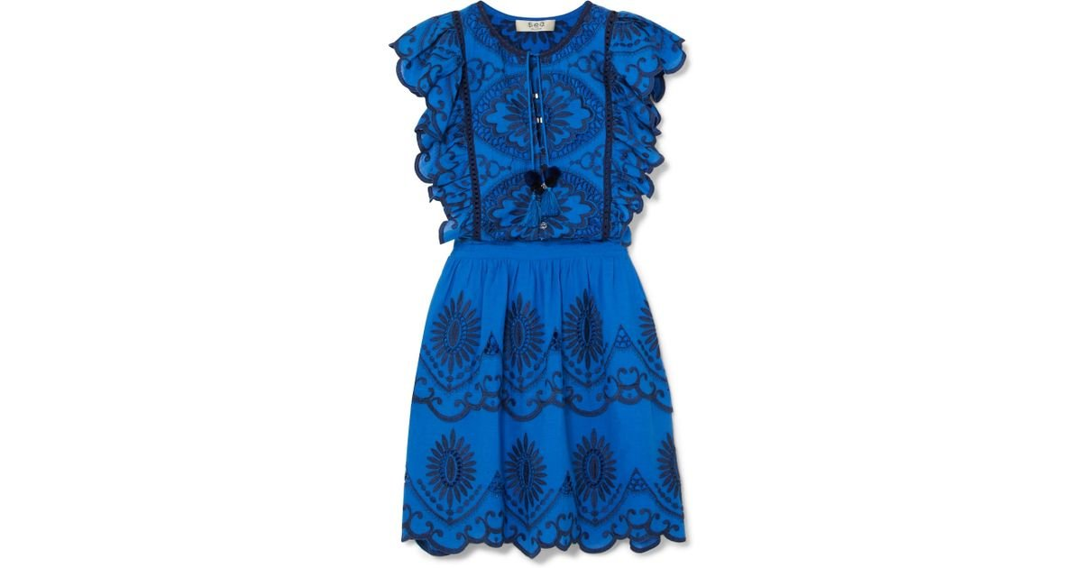 Ruffled Broderie Anglaise Cotton-voile Mini Dress - Blue Sea New York RweIo