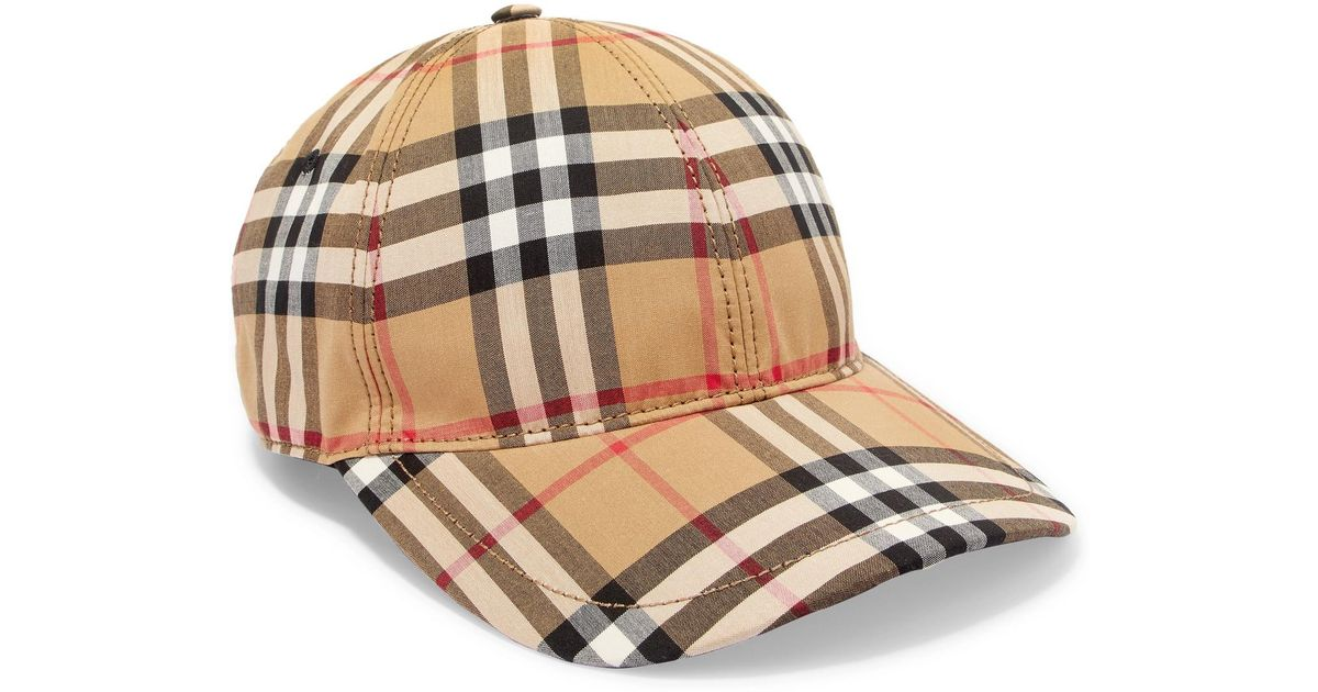 Burberry Checked Cotton-canvas Baseball Cap in Natural - Lyst f02978c5e4