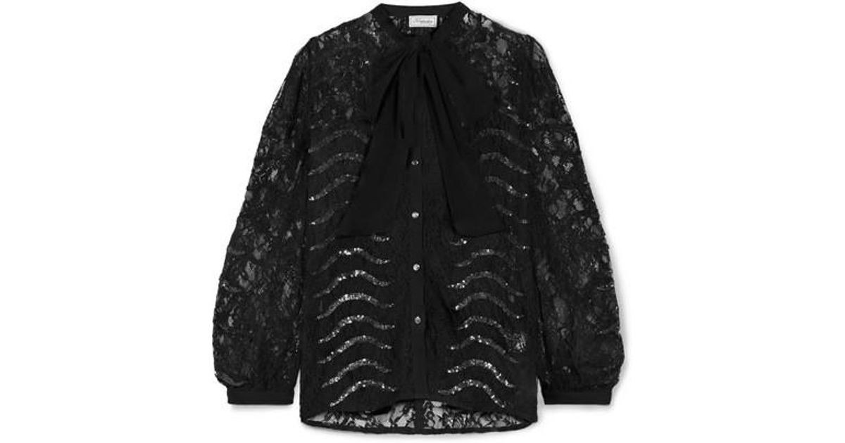 3598d5f2e3adbb Temperley London Panther Pussy-bow Sequined Lace Blouse in Black - Lyst