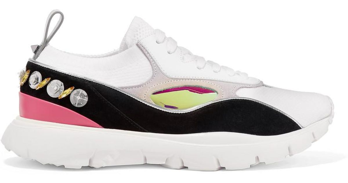 Valentino Garavani Heroes Embellished Suede And Leather-trimmed Stretch-knit Sneakers - Ivory Valentino XBr9O