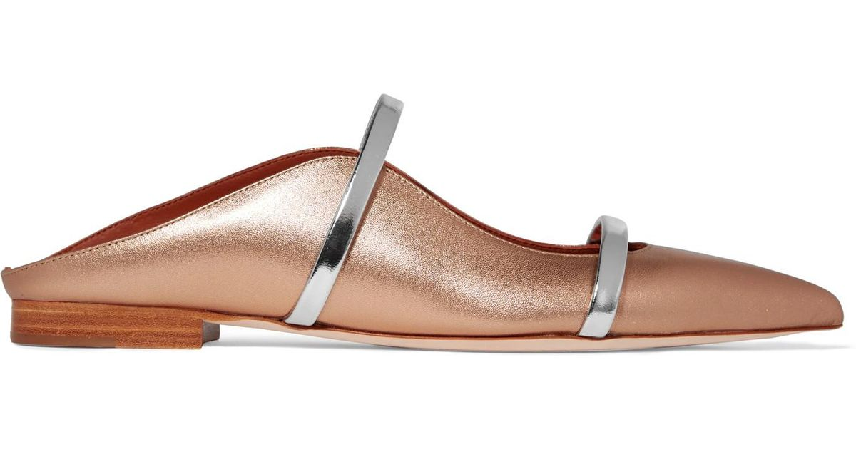 79b6390e24b3 Malone Souliers Maureen Metallic Leather Point-toe Flats in Metallic - Lyst