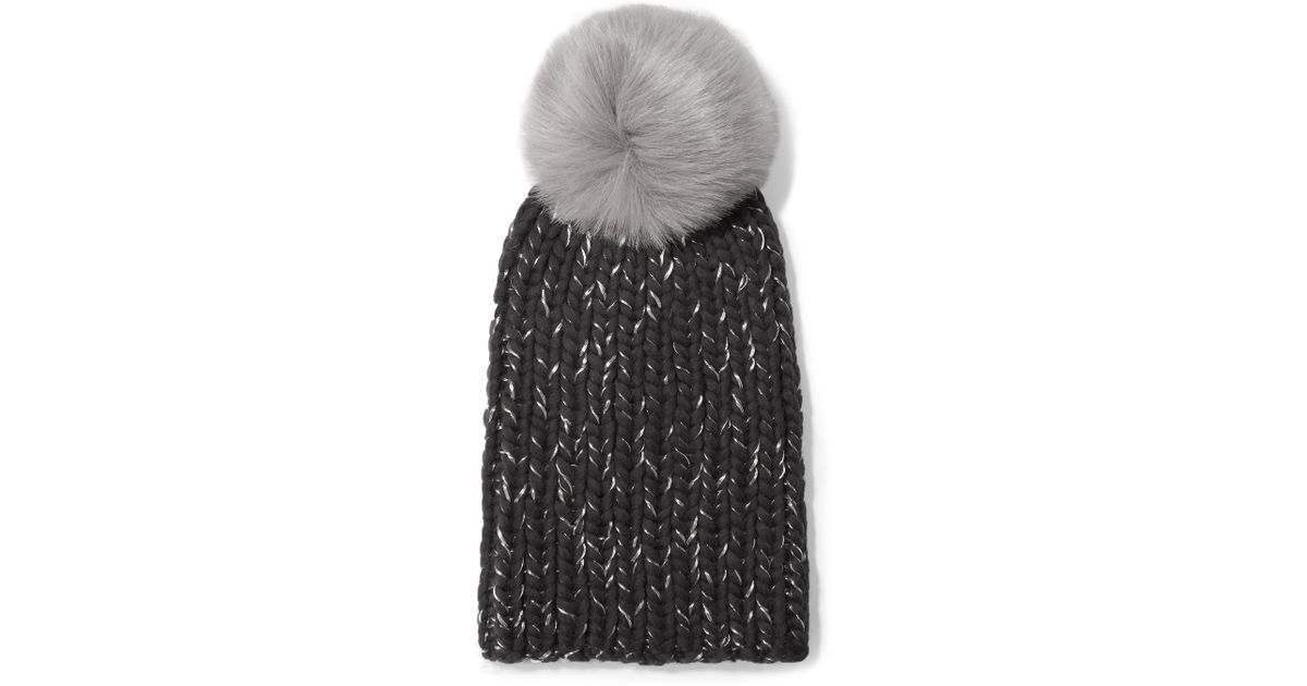 Lyst - Eugenia Kim Rain Faux Fur-trimmed Chunky-knit Wool Beanie in Gray c9a419440