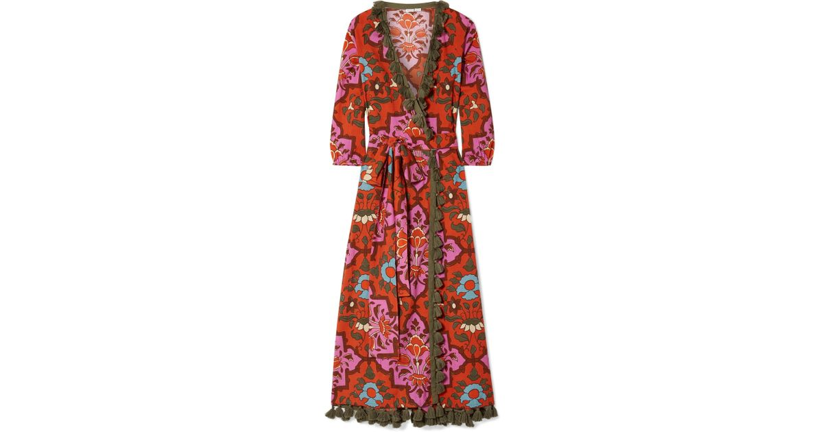 a1feef2619 Lyst - Rhode Resort Lena Tasseled Printed Cotton-voile Maxi Dress in Red
