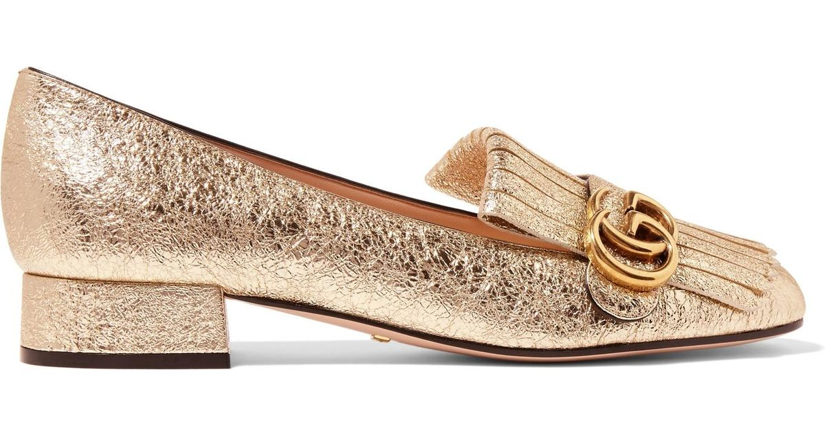 df01929426d Gucci Marmont Fringed Logo-embellished Metallic Cracked-leather Loafers in  Metallic - Lyst
