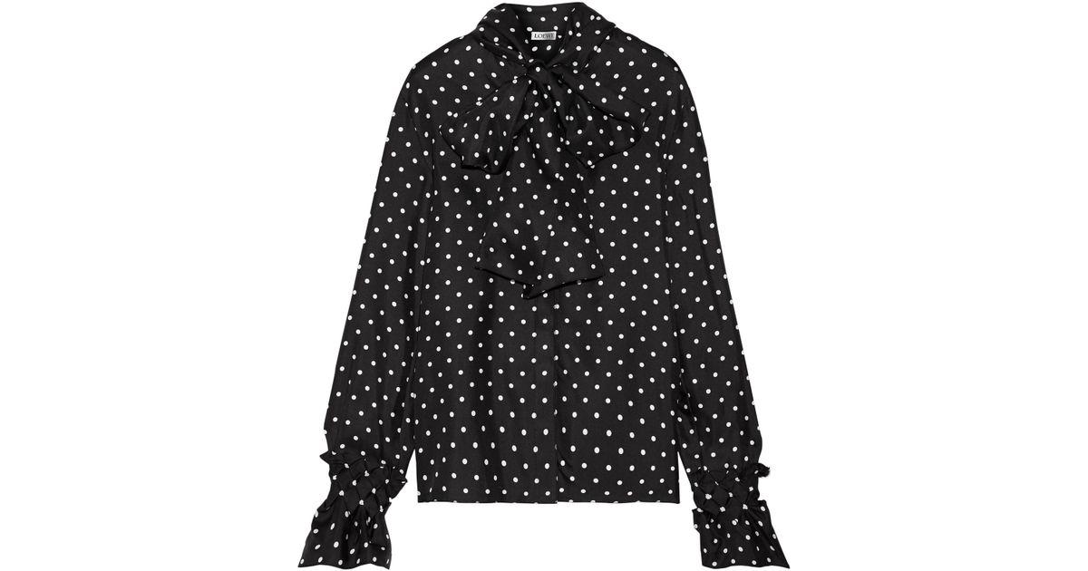 72850148e3c1c Lyst - Loewe Pussy-bow Polka-dot Silk-satin Twill Blouse in Black