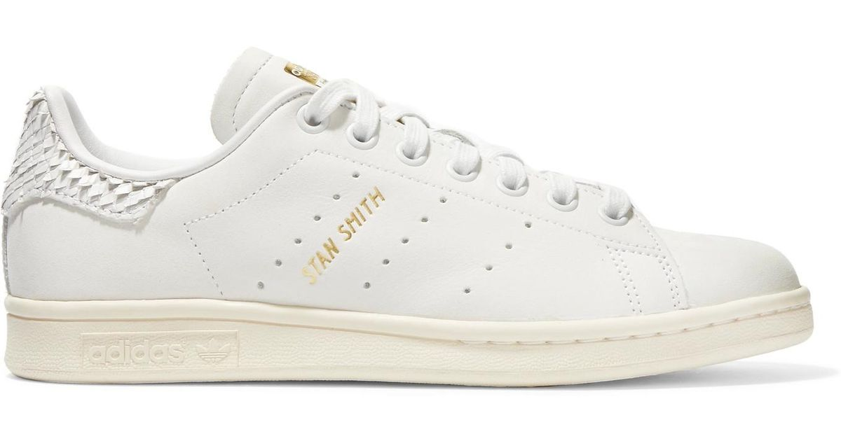 Bons prix en ligne conception populaire Adidas Originals White Stan Smith Snake Effect-trimmed Leather Sneakers