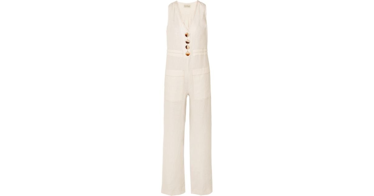 c794f6a4dff0 Lyst - Nicholas Button-embellished Linen Jumpsuit in White