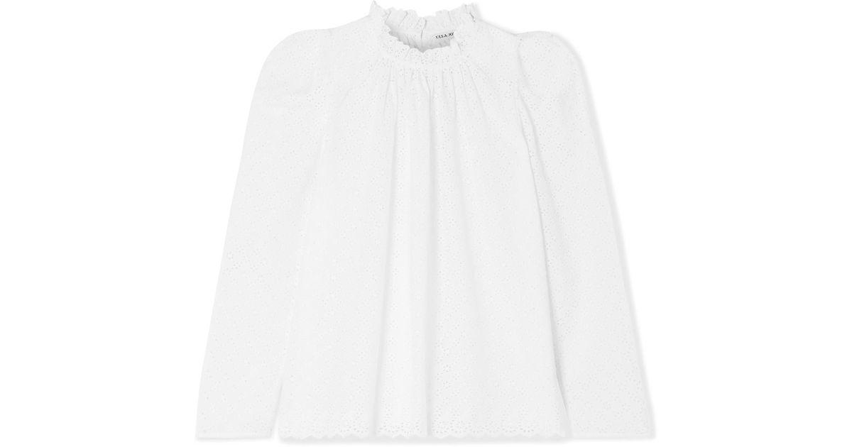 5659de2764d5ec Ulla Johnson Gracie Broderie Anglaise Cotton Blouse in White - Lyst