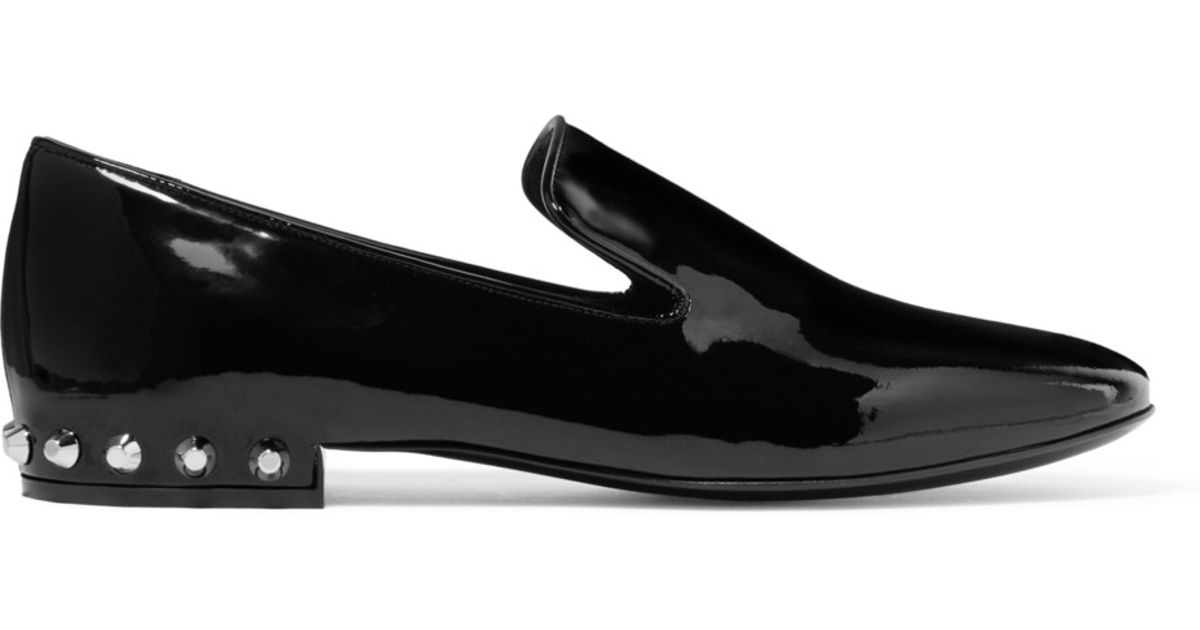 balenciaga studded patent leather loafers in black lyst