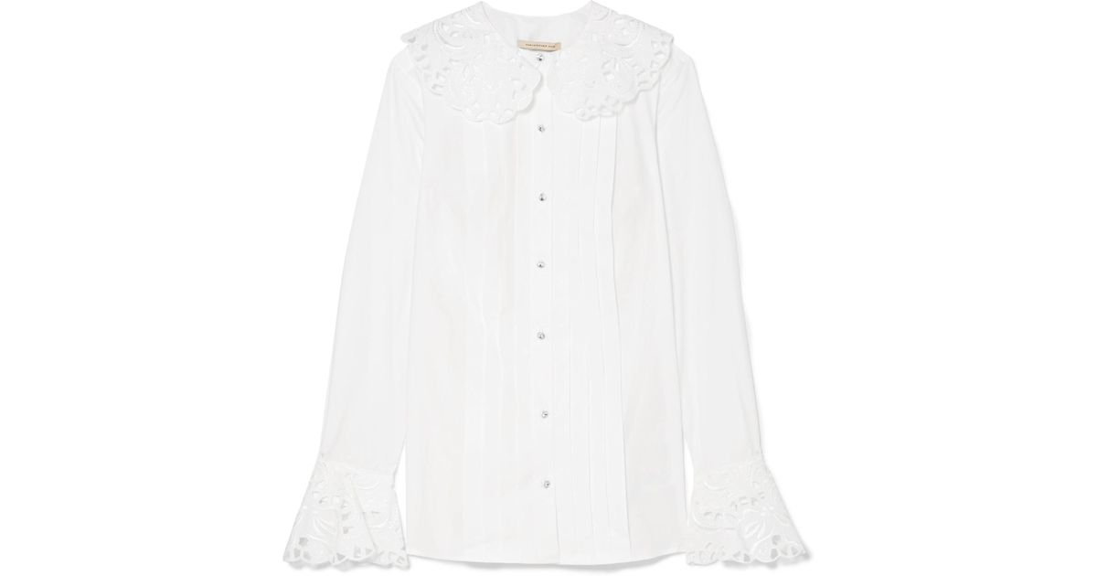 Perfect Broderie Anglaise-trimmed Cotton-poplin Blouse - White Christopher Kane Manchester Cheap Online lGsyI