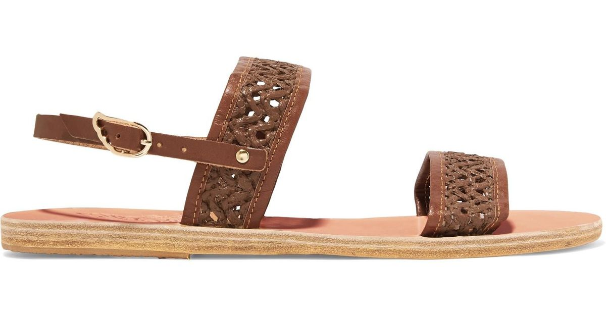 Dinami Woven Raffia And Leather Slingback Sandals - Dark brown Ancient Greek Sandals ogiU4n