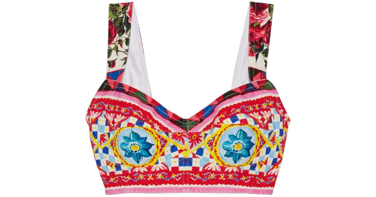 Women's Pink Printed Cotton-blend Crepe Bra Top