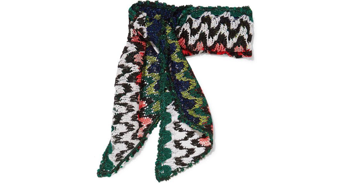Women's Green Metallic Crochet-knit Scarf