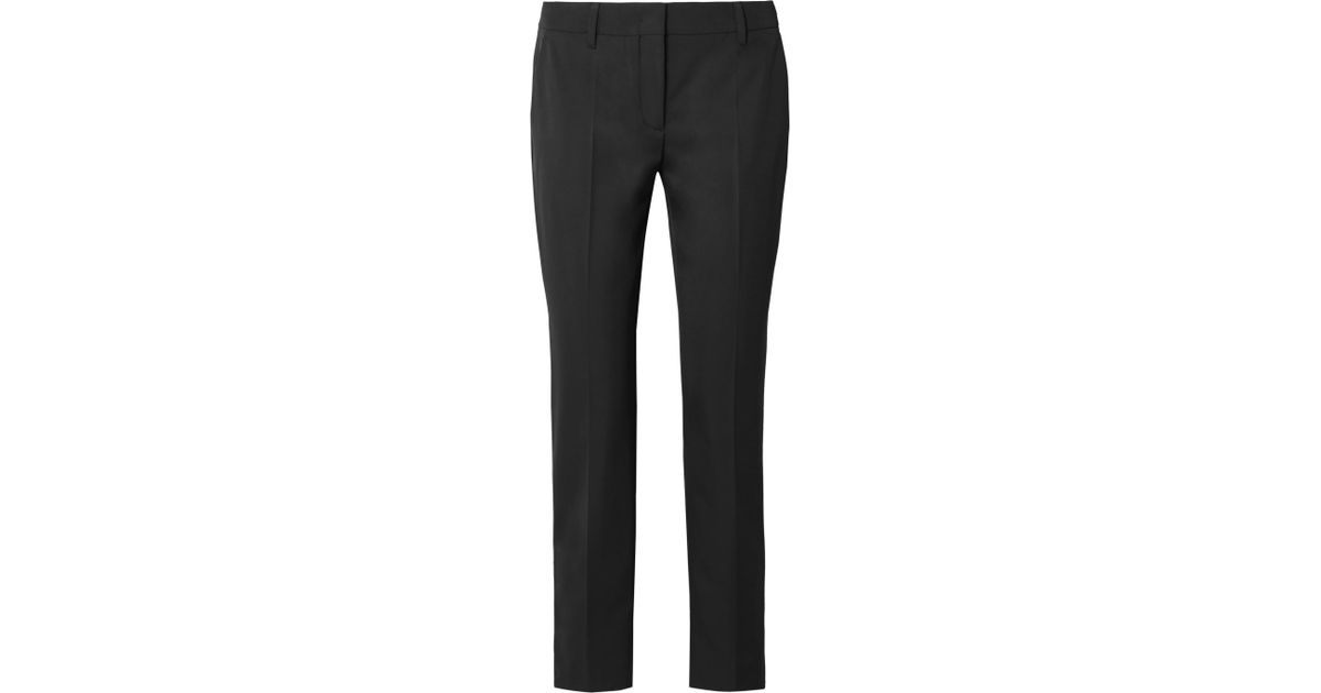 Cropped Crepe Skinny Pants - Black Prada