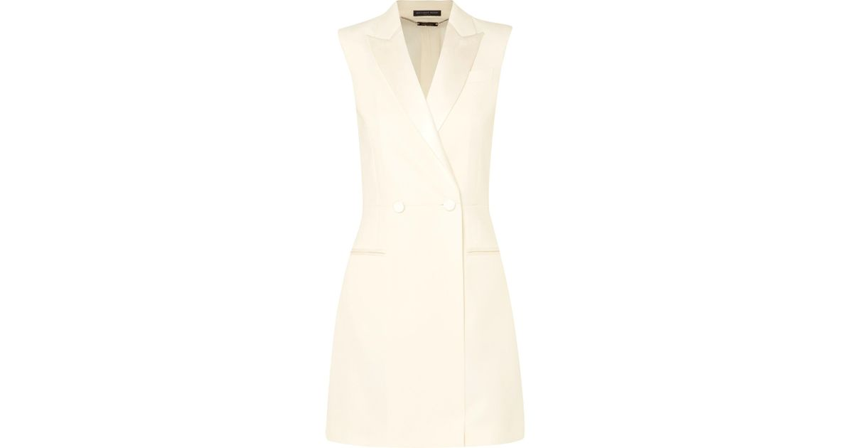 21b03605d7d4f Alexander McQueen Satin-trimmed Wool-blend Cady Mini Dress in White - Lyst
