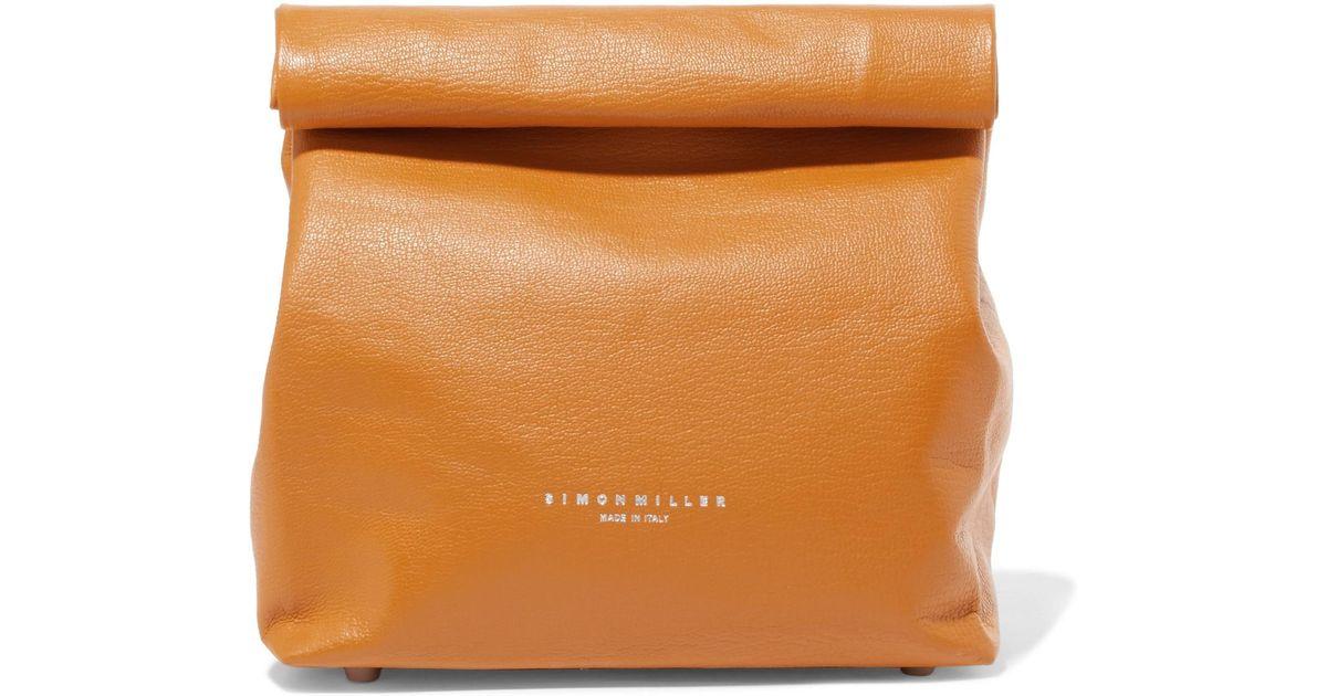Lunchbag 20 Textured-leather Clutch - Orange Simon Miller ckp9Eu