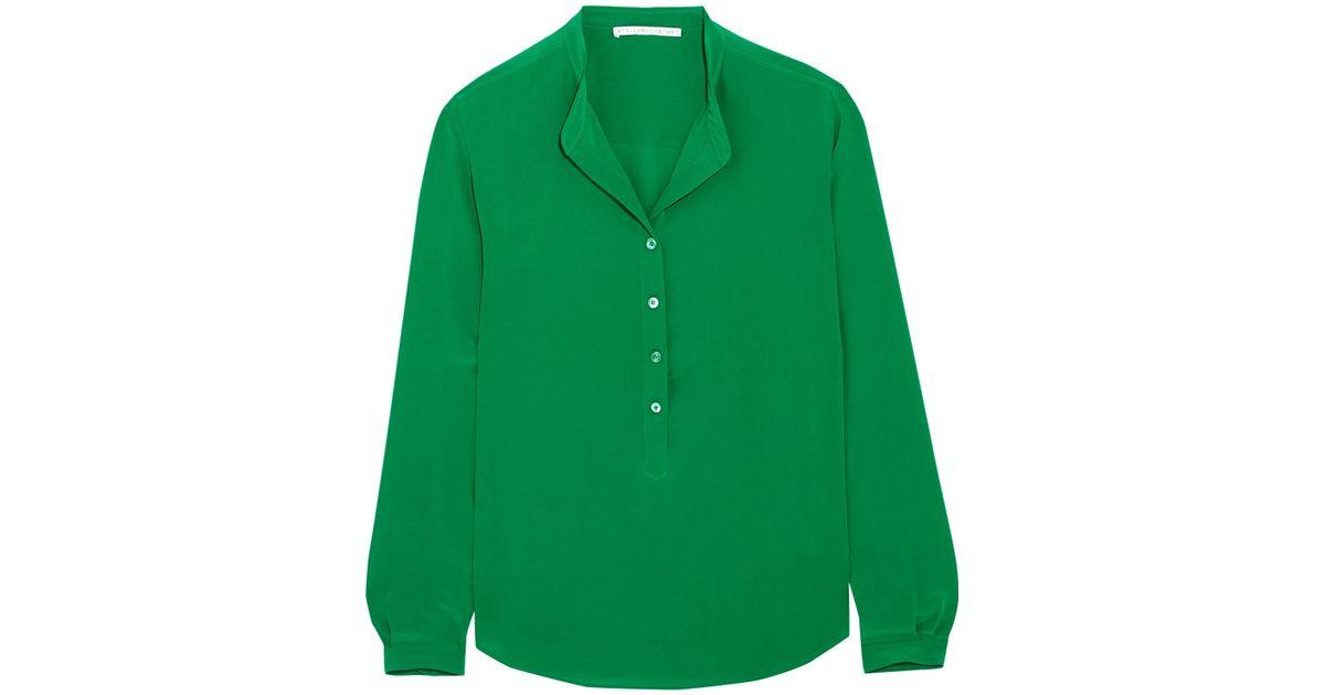 cd0a021c40c8e Lyst - Stella McCartney Eva Silk Crepe De Chine Blouse in Green