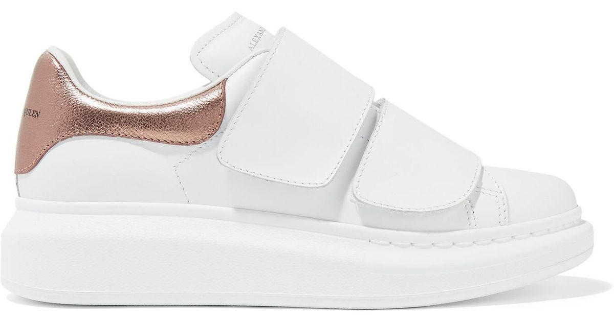 Lyst - Alexander McQueen Metallic-trimmed Leather Exaggerated-sole Sneakers  in White ab854a2851fb