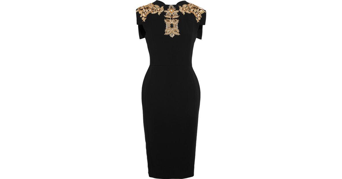 Lyst - Antonio Berardi Embellished Stretch-cady Dress in Black