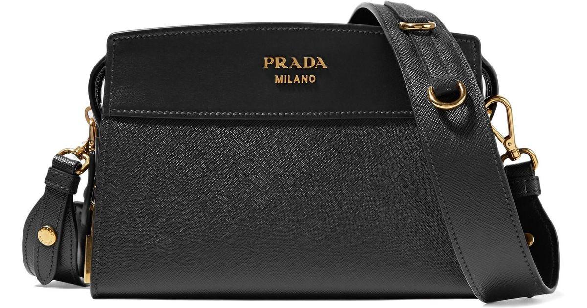 5a821af9d991 Lyst - Prada Esplanade Small Textured-Leather Shoulder Bag in Black