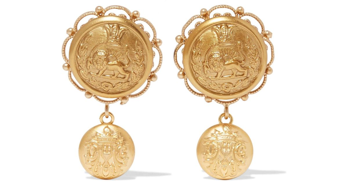 gabbana jewelry rose plated product clip red gold and normal on in metallic crystal filigree dolce earrings resin lyst