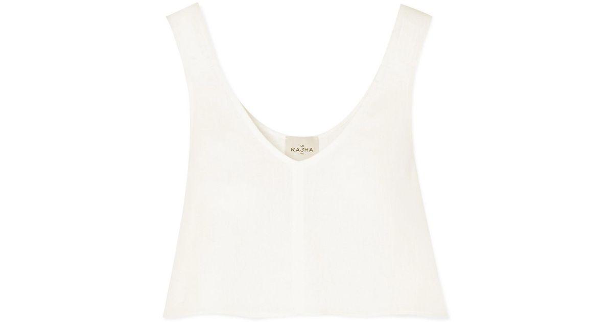 Tebes Cropped Linen Top - White Le Kasha Cheap Sale Official Site Buy Cheap Popular Cool Sale View zktHNekiR3
