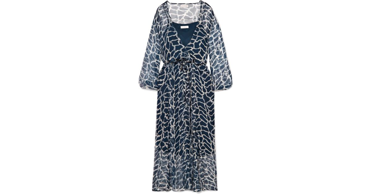 Jemima Giraffe-print Silk-crepon Wrap Midi Dress - Navy Cloe Cassandro rVB06MWQ
