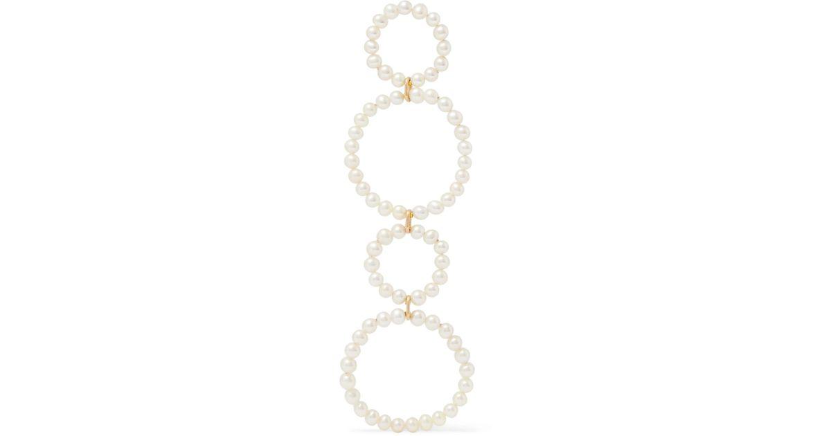 Saskia Diez Sky Holiday 18-karat Gold Freshwater Pearl Earring - White r0WlCE1