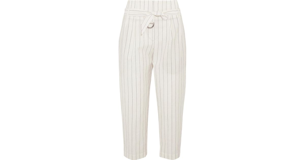 Women's White Cropped Striped Wool And Linen-blend Wide-leg Pants