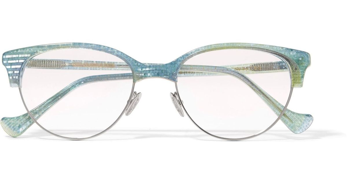 d14d9b7e20 Lyst - Cutler   Gross Ariel Cat-eye Glittered Acetate And Silver-tone  Optical Glasses