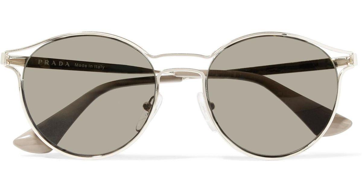 cef38f8d4 ... canada prada round frame gold tone mirrored sunglasses in metallic lyst  144eb 648c4