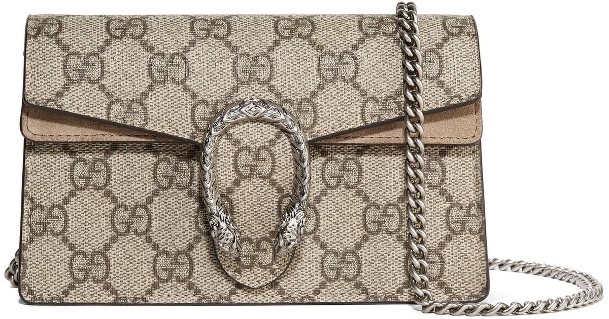 81f5505fda9 Lyst - Gucci Dionysus Super Mini Printed Coated-canvas And Suede Shoulder  Bag in Brown