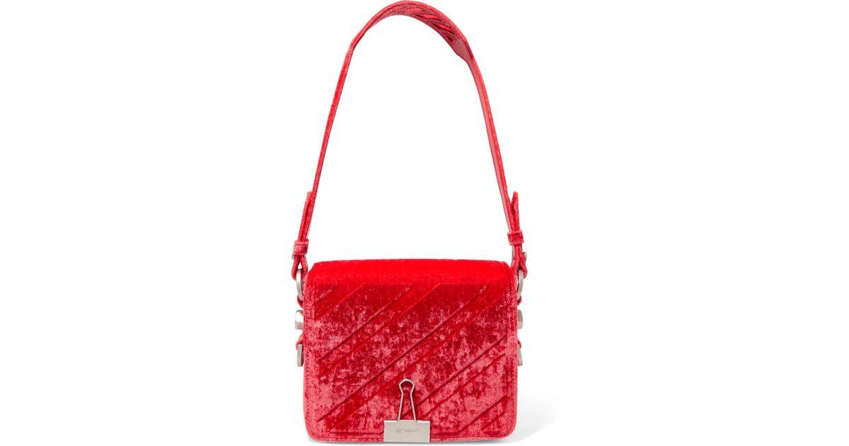 b6d17ffa8fba2 Lyst - Off-White c o Virgil Abloh Embossed Velvet Shoulder Bag in Red