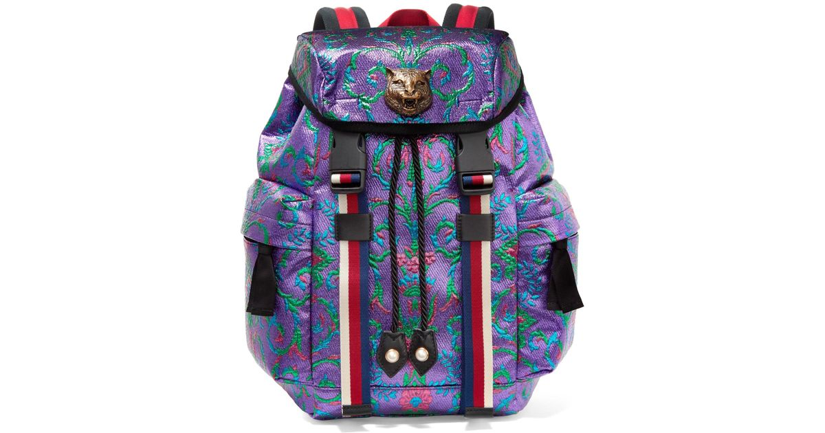 3c13d287f7f Gucci Stripe-trimmed Embellished Metallic Brocade Backpack in Purple - Lyst