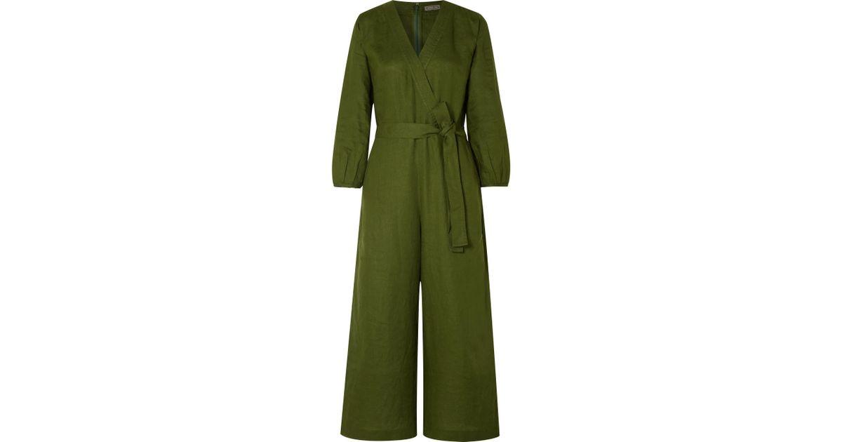 2854e033000 Lyst - J.Crew Fontana Belted Wrap-effect Linen Jumpsuit in Green