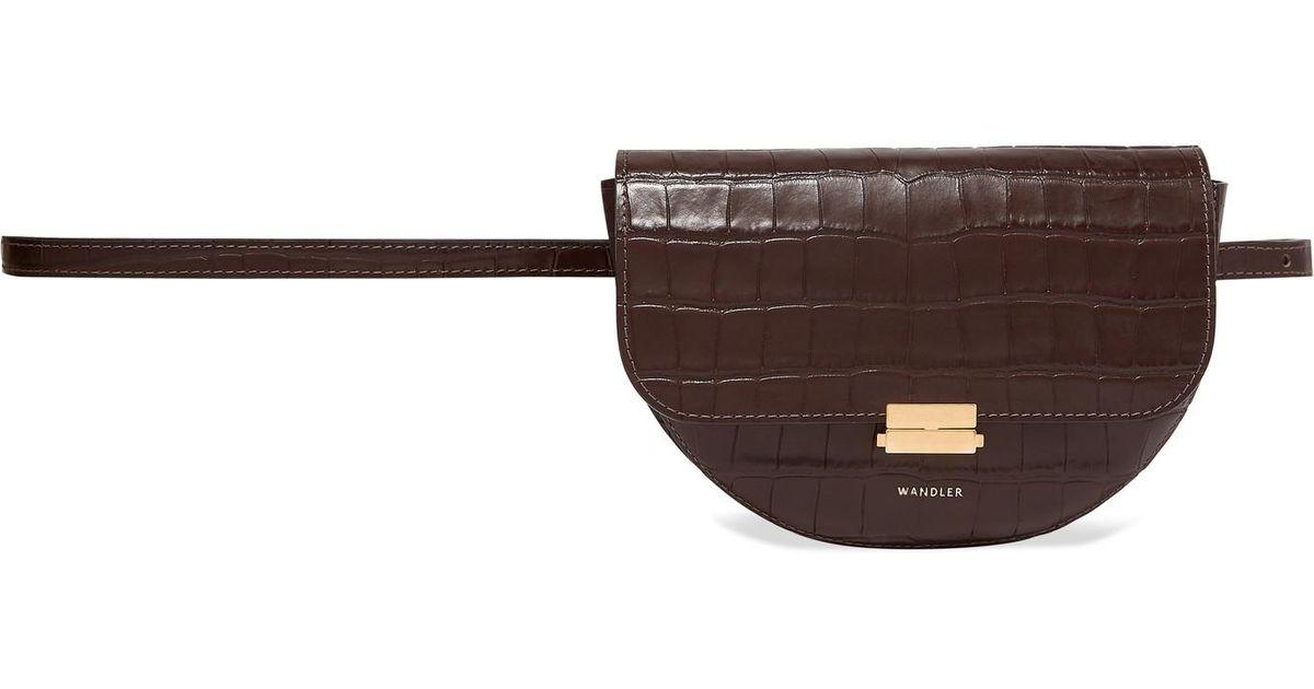 cbdffa6df1fc Wandler Anna Buckle Leather Belt Bag in Brown - Lyst