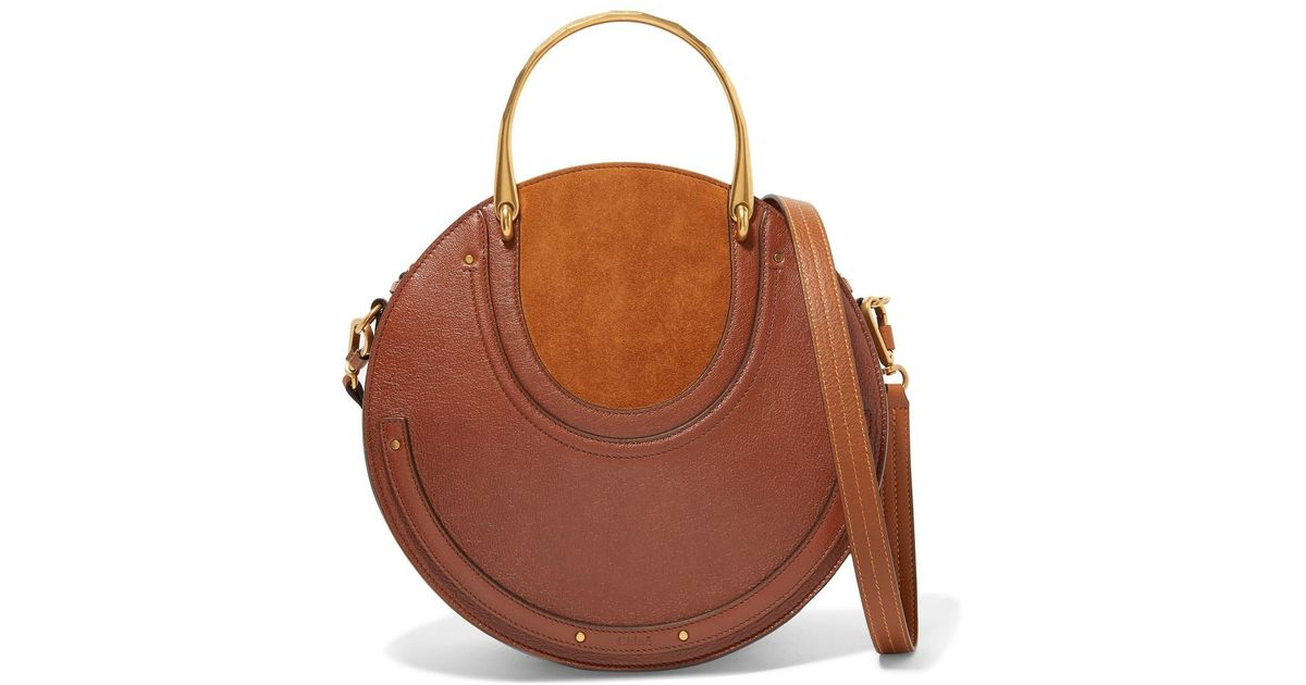 3bef59eddaa8 Lyst - Chloé Pixie Large Suede And Textured-leather Shoulder Bag in Brown