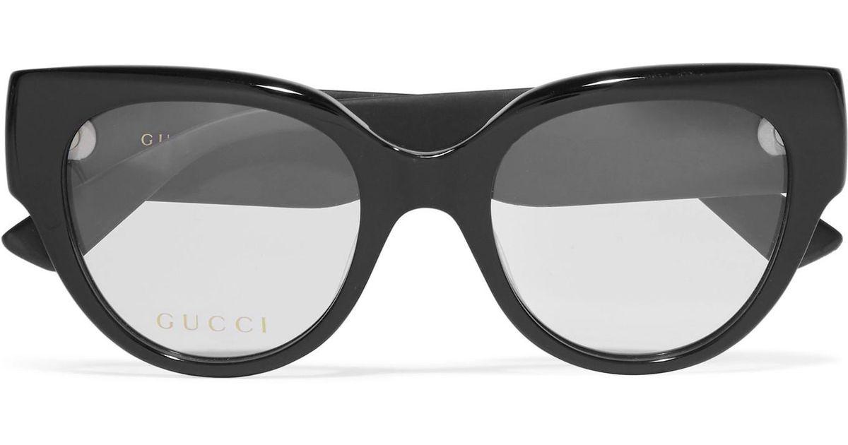73b08e4b3f Gucci Cat-eye Glittered Acetate Optical Glasses in Black - Lyst