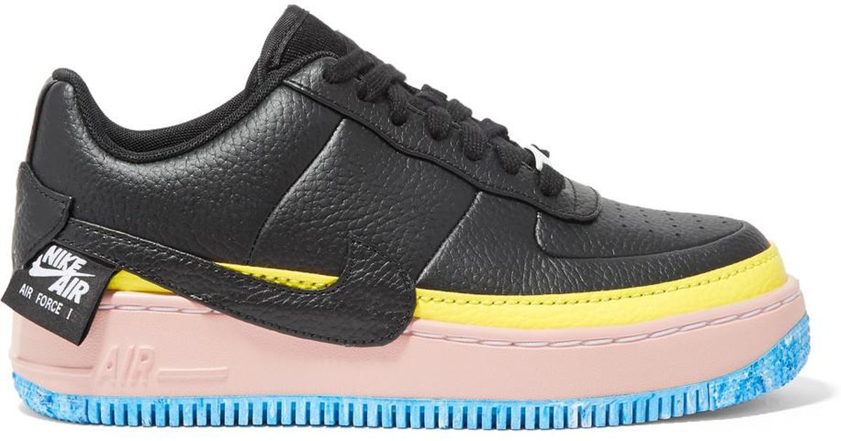 new product e8e09 06b9b Nike Air Force 1 Jester Xx Color-block Textured-leather Platform Sneakers  in Black - Lyst