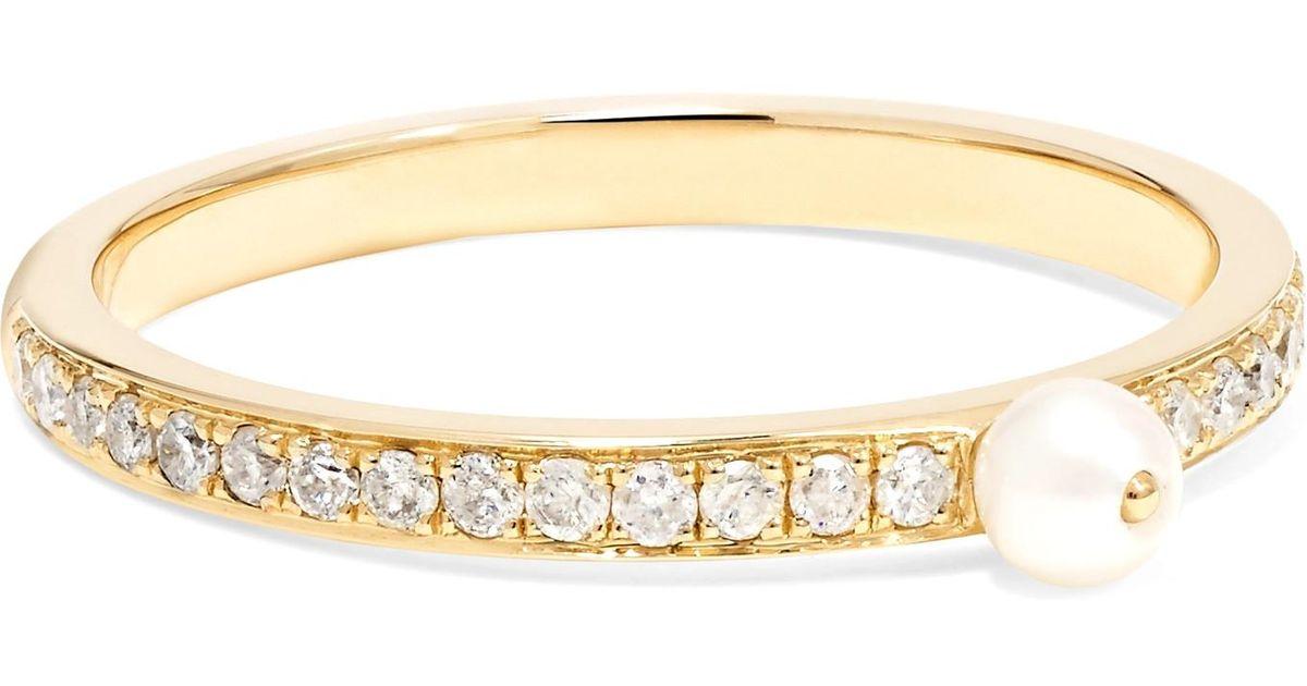 Lyst Anissa Kermiche Perle Rare 14 Karat Gold Pearl And Diamond