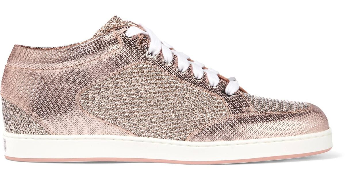 62018cc59cdd Lyst - Jimmy Choo Miami Glittered Mesh And Embossed Leather Sneakers in Pink