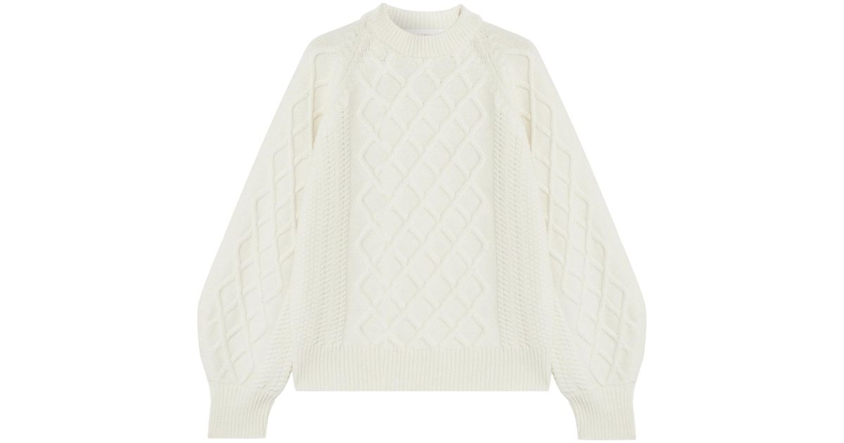 Lyst Victoria Beckham Oversized Cable Knit Wool Sweater In White