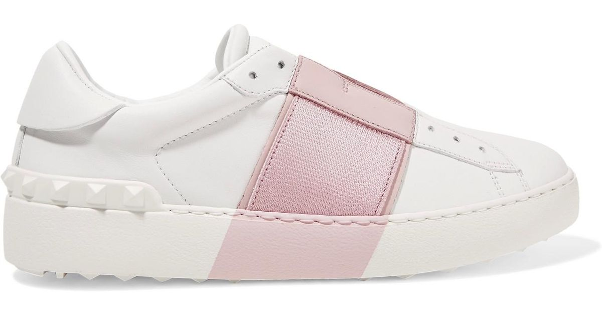 cb255fc36e05 Lyst - Valentino Leather Slip-on Sneakers in White