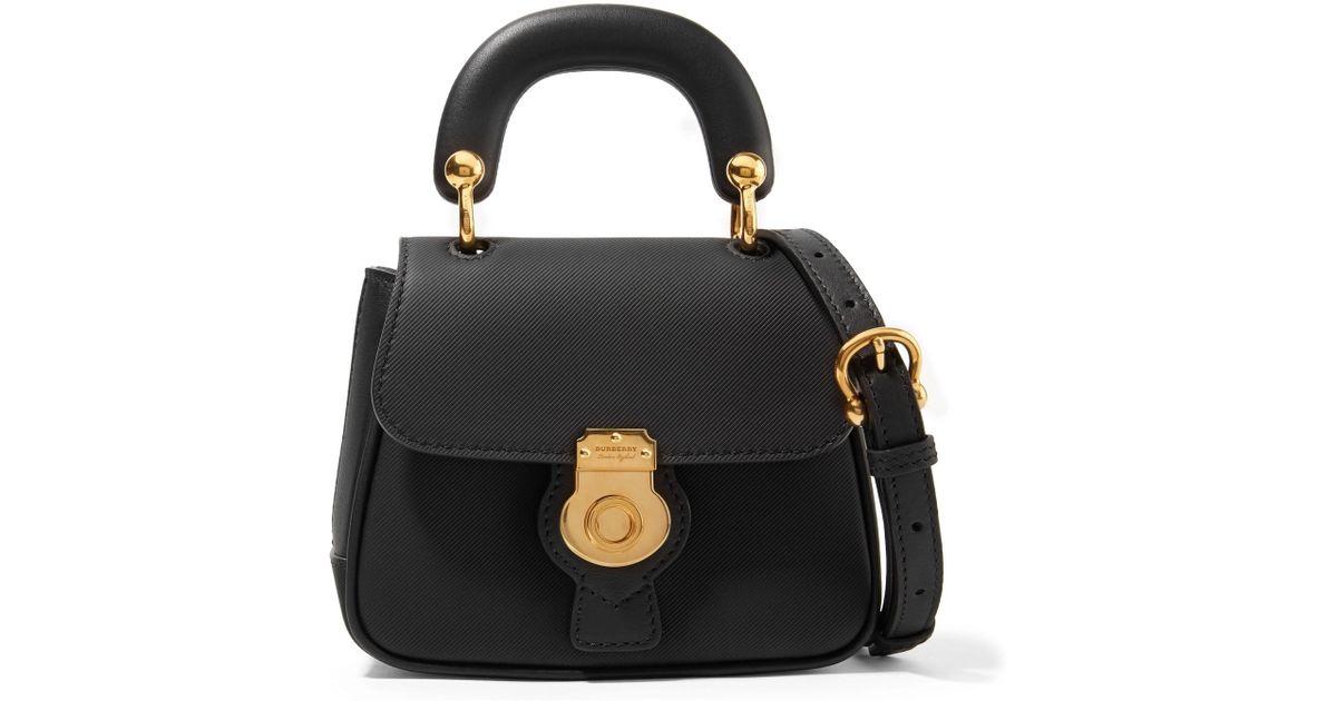 Lyst - Burberry Mini Textured-leather Shoulder Bag in Black 2d59ef9d22
